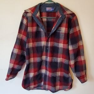Men's Pendleton Red & Navy Plaid Button Up Shirt